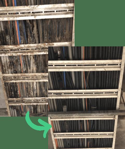 avant et après d'un nettoyage cryogénique