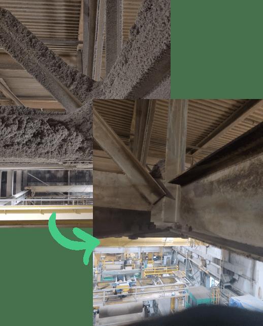 avant et après d'un nettoyage des poussières combustibles