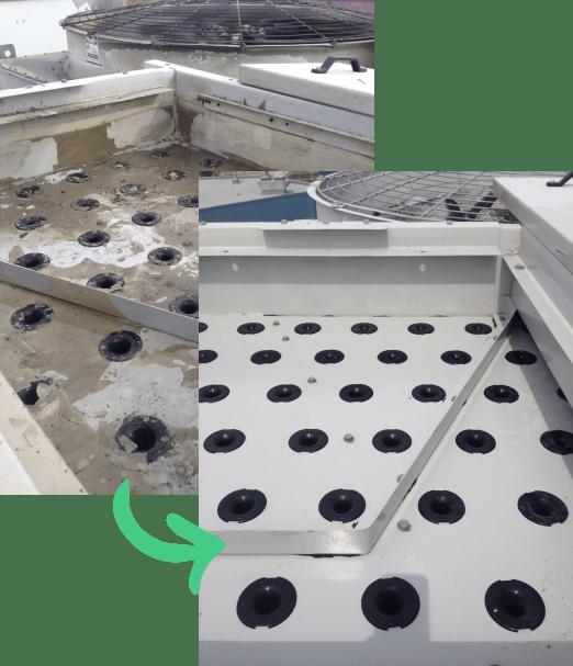 avant et après d'un lavage de tour d'eau